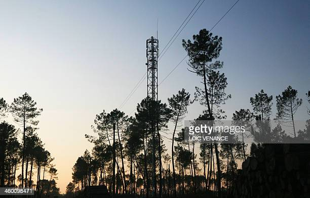 This picture taken on January 11 2010 in Arengosse southwestern France shows a mobile phone mast antenna AFP PHOTO LOIC VENANCE