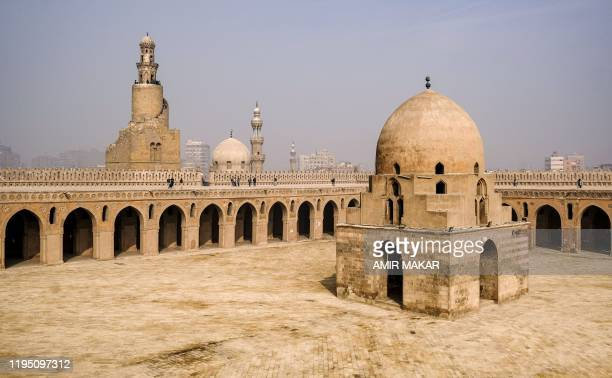 This picture taken on January 11 2020 shows a view of the dome of the ninth century mosque of Ibn Tulun in the Egyptian capital Cairo with the its...