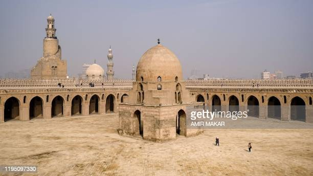 This picture taken on January 11, 2020 shows a view of the dome of the ninth century mosque of Ibn Tulun in the Egyptian capital Cairo, with the its...