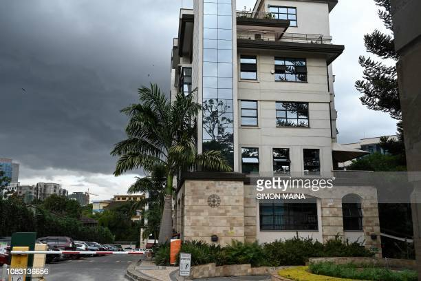 This picture taken on January 15 2019 shows a hotel complex where an explosion was heard in Nairobi A blast at the DusitD2 compound which includes a...