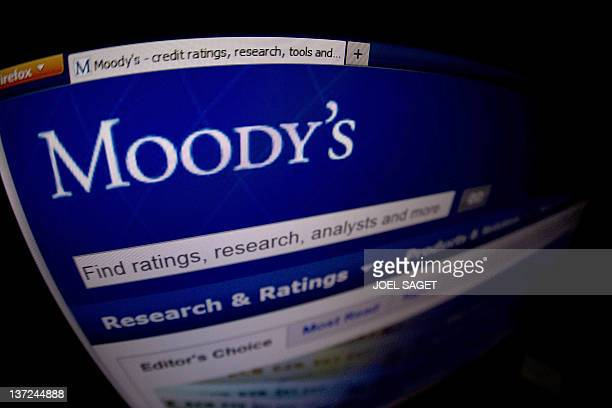 This picture taken on January 17 2012 in Paris shows a closeup of the opening page of the ratings agency Moody's website Moody's on January 16 2012...