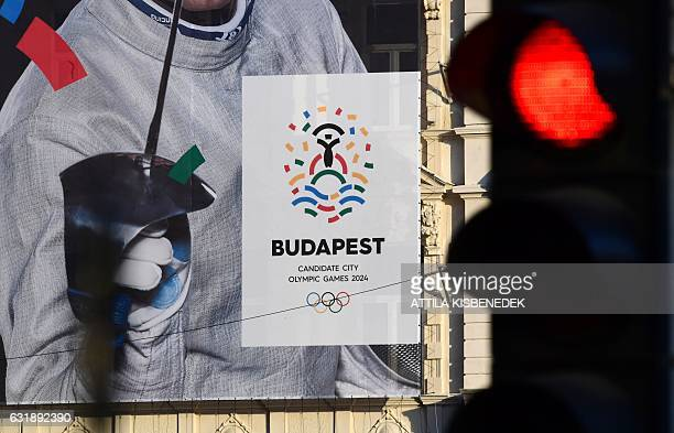 This picture taken on January 17 2017 in Budapest shows a poster of Hungarian Olympic winner of sabre in Rio de Janeiro 2016 and London 2012 Aron...