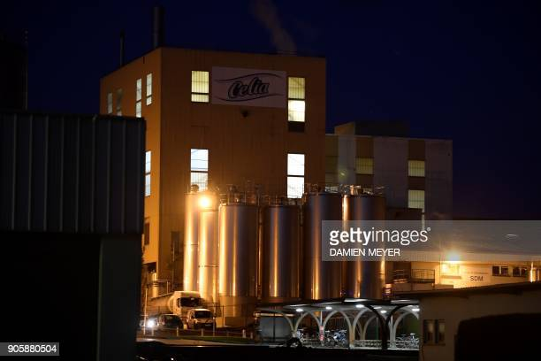 This picture taken on January 17 2018 in Craon shows the Celia dairy company's infant milk factory a subsidiary of French dairy giant Lactalis French...