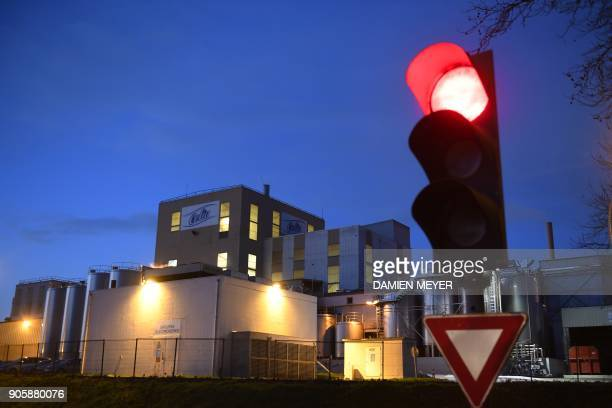 This picture taken on January 17 2018 shows the Celia dairy company's infant milk factory a subsidiary of French dairy giant Lactalis in Craon...