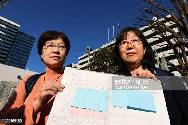 This picture taken on January 17 2019 shows same sex couple Yoko Ogawa and Chizuka Oe displaying their marriage registration form to journalists in...