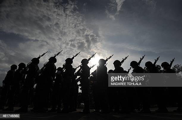 This picture taken on January 18 2015 shows Thai soldiers marching in a parade as part of celebrations of the Royal Thai Army national day at a Navy...