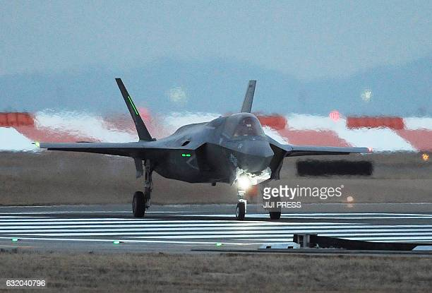 This picture taken on January 18 2017 shows a US F35B stealth fighter jet taxiing after landing at the US Marine's Iwakuni Air Station in Iwakuni...