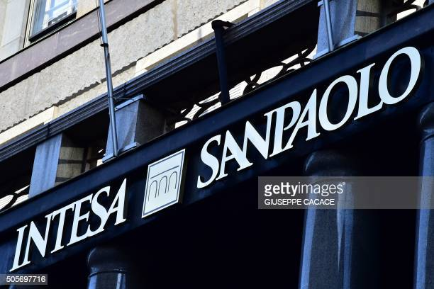 This picture taken on January 19 2016 show a branch of Intesa San Paolo bank in Milan Italian banking stocks saw another day of meltdown on January...