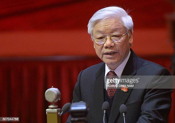 This picture taken on January 21 2016 shows Nguyen Phu Trong Vietnam's Communist Party Secretary General delivering a speech during the opening...