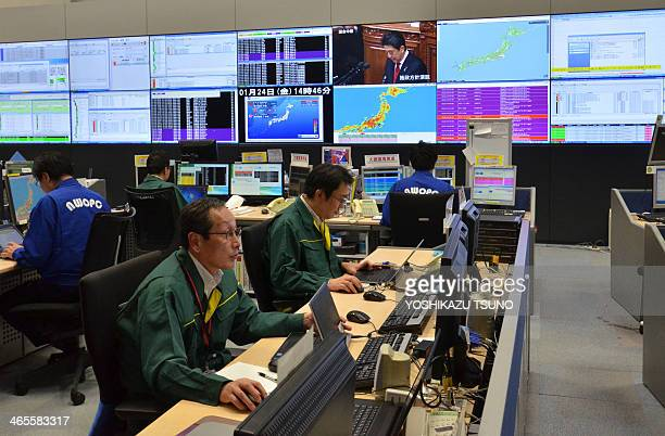 This picture taken on January 24 2014 shows Japanese mobile communication giant NTT Docomo's network operation center in Tokyo NTT Docomo has two...