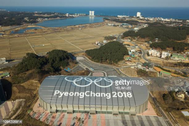 This picture taken on January 24 2019 shows a general view of the Gangneung Oval where the speed skating was held during the Pyeongchang 2018 Winter...