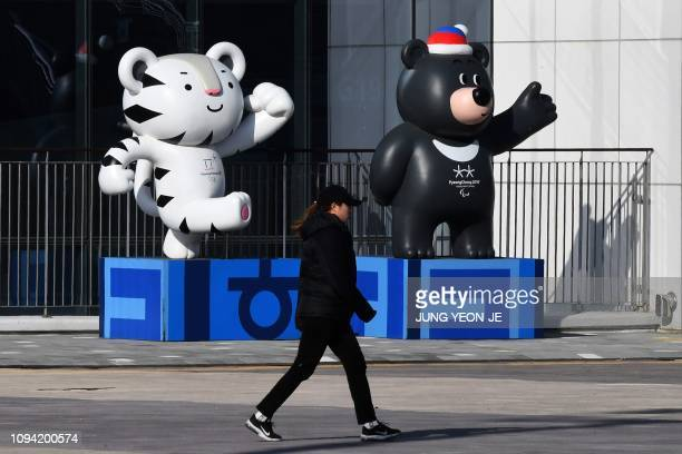 This picture taken on January 24 2019 shows a woman walking past the mascots for the Pyeongchang 2018 Winter Olympic Games at the Gangneung Olympic...