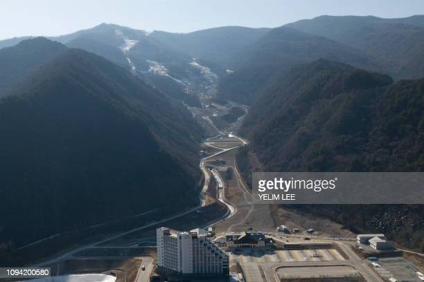 This picture taken on January 25 2019 shows a general view of the Jeongseon Alpine Centre where downhill skiing events were held during the...