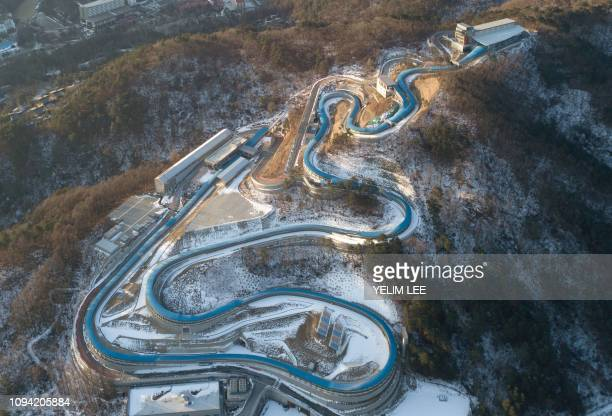 TOPSHOT This picture taken on January 25 2019 shows a general view of the Pyeongchang Olympic Sliding Centre where South Korea's Yun Sungbin won...