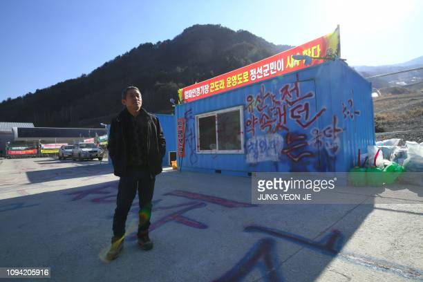This picture taken on January 25 2019 shows South Korean businessman Kim Changyoung who regularly protests to demand the site's development at the...