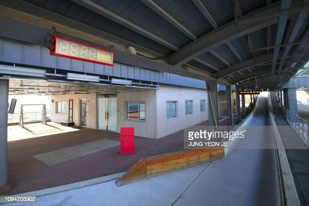 This picture taken on January 25 2019 shows the finish house of the Pyeongchang Olympic Sliding Centre where South Korea's Yun Sungbin won Asia's...