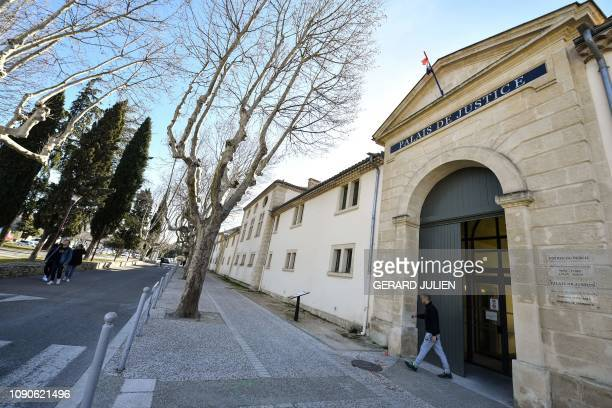 This picture taken on January 28 2019 shows the main entrance of the the Courthouse of Tarascon southeastern France after three armed persons...