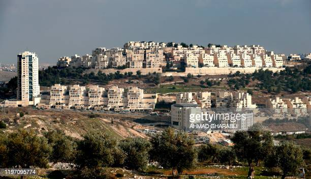 This picture taken on January 28 2020 shows a view of the Israeli settlement of Har Homa in Israeliannexed East Jerusalem