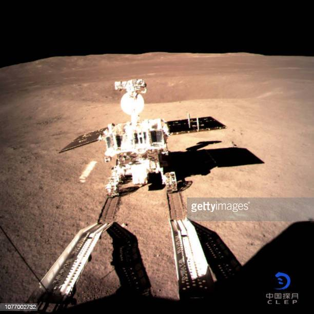 This picture taken on January 3 2019 and received on January 4 from the China National Space Administration via CNS shows a robotic lunar rover on...
