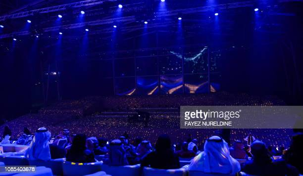 This picture taken on January 4 2019 shows a view of a musical performance by French solo violinist Renaud Capucon during the first Winter at Tantora...