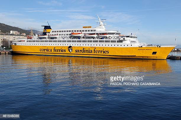 This picture taken on January 9 shows the Sardinia Regina a ferry boat of the Corsica Ferries Sardinia Ferries maritime transport company moored in...