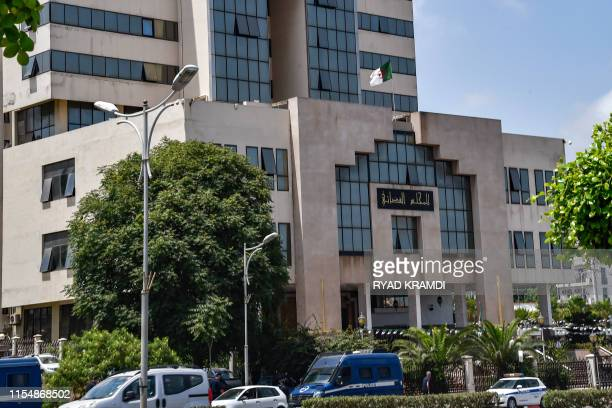 This picture taken on July 10 2019 shows a view outside a courthouse in the Algerian capital Algiers from a sitin sitin in support of the detained...