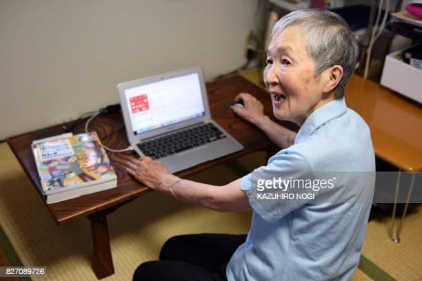 This picture taken on July 13 2017 shows 82yearold programmer Masako Wakamiya speaking during an interview with AFP in Fujisawa Kanagawa prefecture...