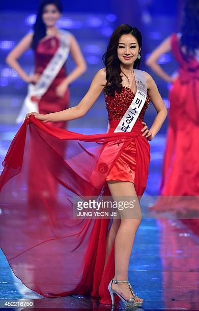 This picture taken on July 15 2014 shows Joo GaEul during the 2014 Miss Korea pageant in Seoul The 22yearold university student Kim SeoYeon beat 48...