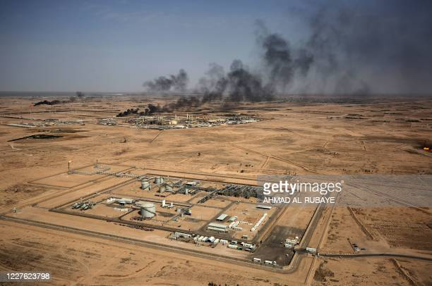 This picture taken on July 15 2020 shows an aerial view of an oil field near Iraq's southern port city of Basra
