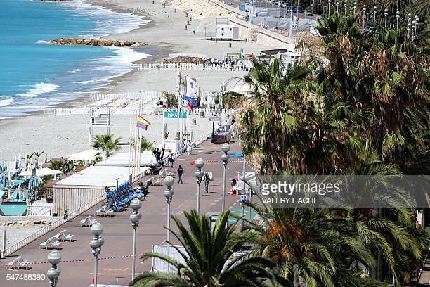TOPSHOT This picture taken on July 15 shows the site where a truck drove into a crowd watching a fireworks display on the Promenade des Anglais...