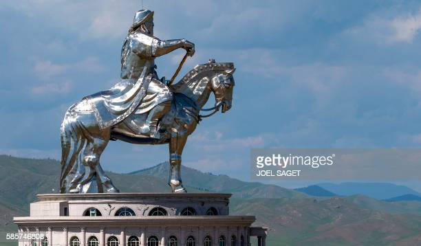 This picture taken on July 16 2016 shows the Genghis Khan equestrian statue in Tsonjin Boldog near Ulan Baator and Erdenet in the Tov province It was...