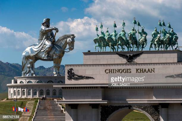 This picture taken on July 16 2016 shows the Genghis Khan equestrian statue in Tsonjin Boldog near Ulan Baator and Erdenet in the Tov province The...
