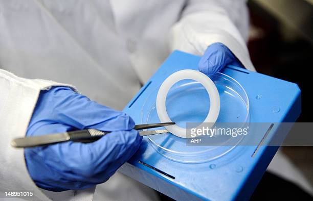 This picture taken on July 20 2012 at Wits Reproductive Health and HIV Institute in Johannesburg shows a Dapivirine vaginal ring to be used in an HIV...