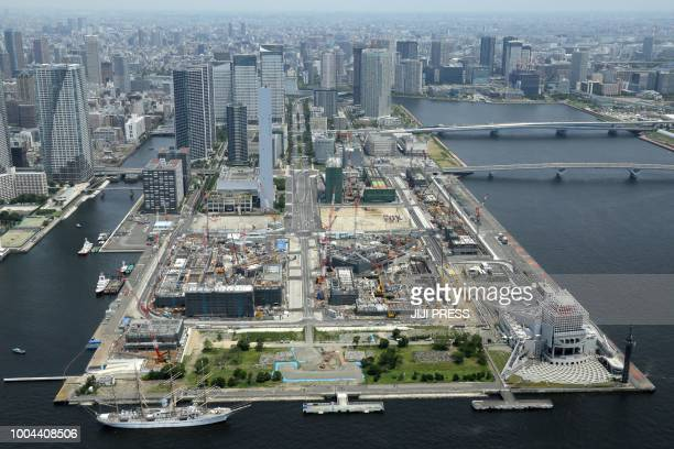 This picture taken on July 21, 2018 shows an aerial view of the Olympic Village under construction in Tokyo for the upcoming Tokyo 2020 Olympic...