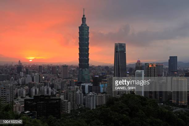 This picture taken on July 22, 2018 shows a view of the Xinyi Shopping District, including the Taipei 101 building , at sunset in Taipei.
