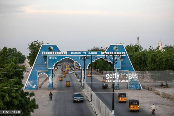 This picture taken on July 26 2019 shows the city gate of Maiduguri along Bulumkutu road Two people were killed and several wounded when Boko Haram...