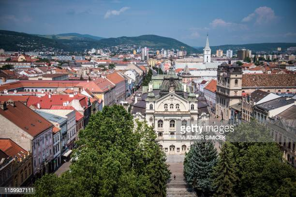 This picture taken on July 30, 2019 shows the city centre of Kosice, second largest city in Slovakia. - The United States Steel Corporation's...