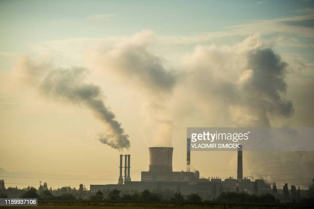 This picture taken on July 30, 2019 shows the US Steel Kosice steel-mill in Kosice, eastern Slovakia. - The United States Steel Corporation's...