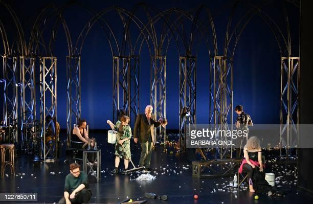 This picture taken on July 30, 2020 in Salzburg, Austria, shows actors Christian Friedel, Andre Kaczmarczyk, Eva Loebau, Hanns Zischler, Nahuel Perez...
