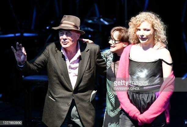 This picture taken on July 30, 2020 in Salzburg, Austria, shows actors Hanns Zischler, Eva Loebau and Luisa-Celine Gaffron during a dress rehearsal...