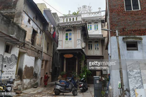 This picture taken on July 31 2017 shows a heritage home in an overbuilt urban area of Ahmedabad The crumbling 600yearold mosques traditional markets...