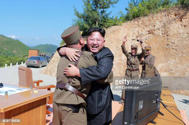TOPSHOT This picture taken on July 4 2017 and released by North Korea's official Korean Central News Agency on July 5 2017 shows North Korean leader...
