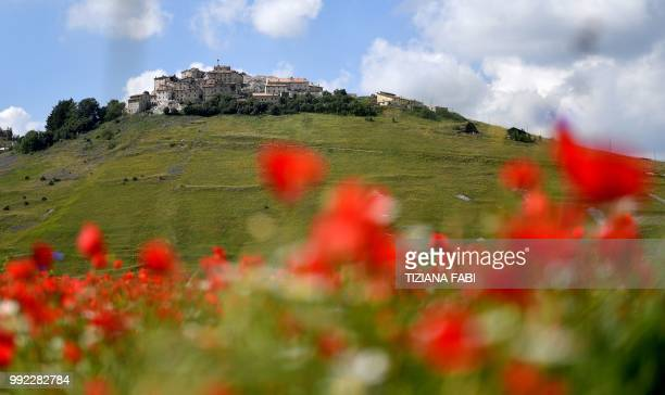 This picture taken on July 5 2018 shows the small village of Castelluccio in central Italys Umbria region