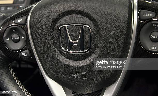 This picture taken on July 6 2015 shows an airbag of a Honda vehicle in Tokyo Japanese automaker Honda said on July 9 the company was recalling...