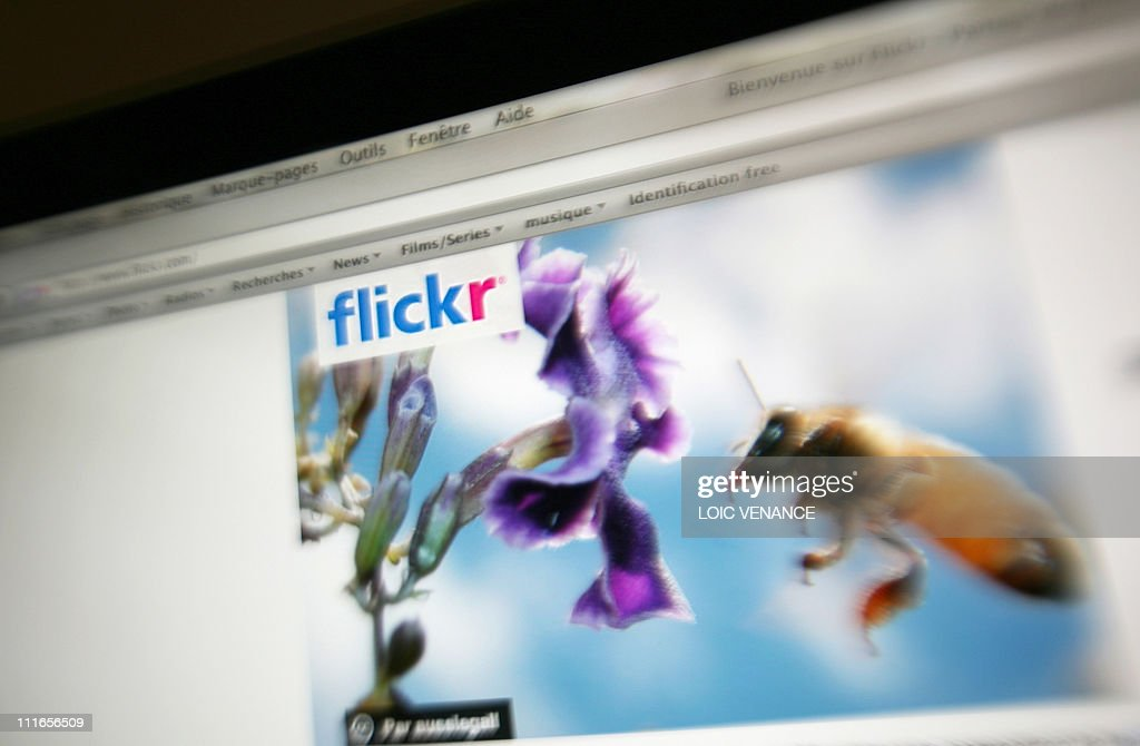 This picture taken on July 7, 2009 in Paris, shows the front page of the Flickr website.