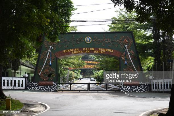 This picture taken on July 9 2020 shows the closed main gate of the Indonesian army's Officer Candidate School in Bandung after more than 1200...