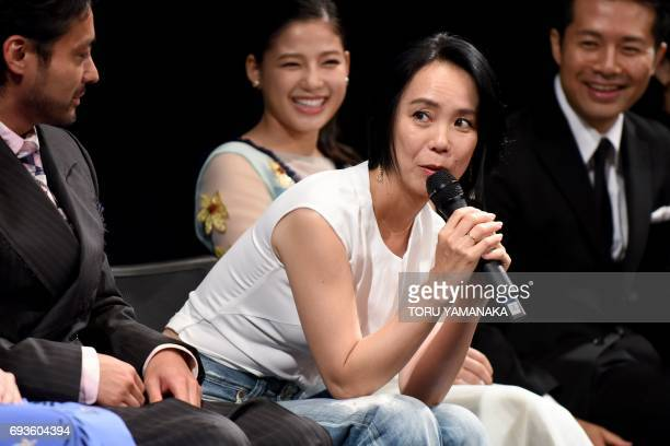 This picture taken on June 1 2017 shows Japanese director Naomi Kawase speaking during the Shortshorts Film Festival and Asia 2017 in Tokyo Japan's...