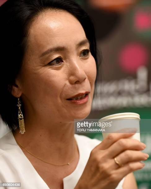 This picture taken on June 1 2017 shows Japanese director Naomi Kawase answering questions during an interview with Agence FrancePresse during the...