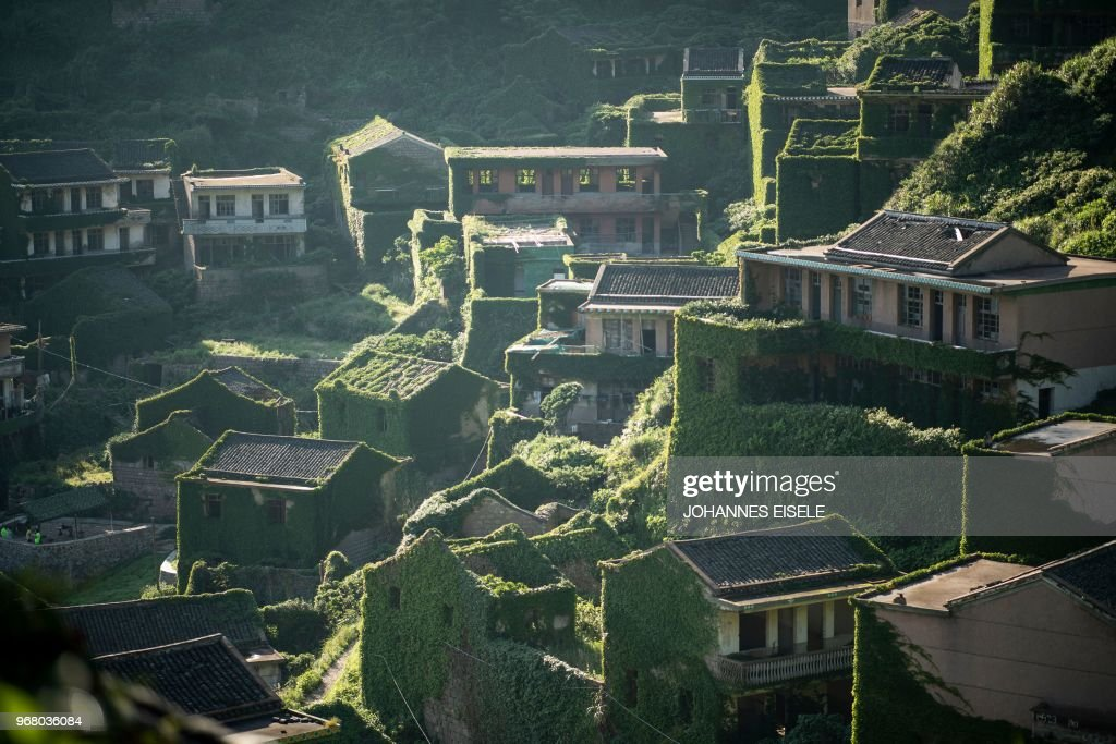 TOPSHOT - This picture taken on June 1, 2018 shows abandoned village houses covered with overgrown vegetation in Houtouwan on Shengshan island, China's eastern Zhejiang province. - Houtouwan was a thriving fishing community of sturdy brick homes that climb up the steeply hilled island of Shenghshan, but is now abandoned, with entire houses completely overgrown as if vacuum-sealed in a lush layer of green.