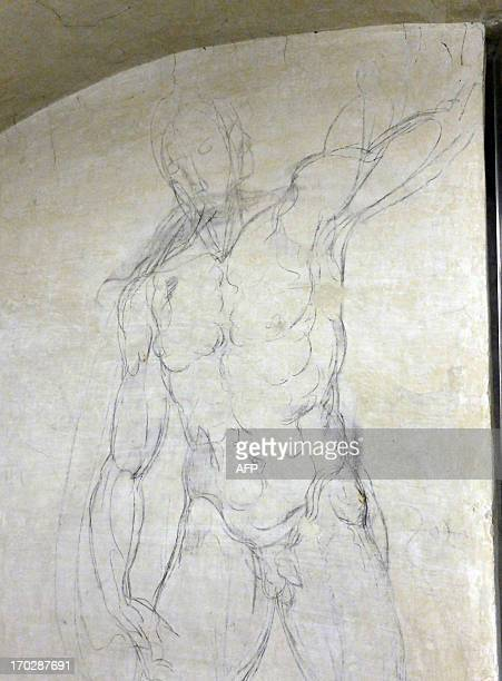 This picture taken on June 10 2013 shows drawings by renaissance master Michelangelo in the secret room under the new sacristy of the Medici chapel...